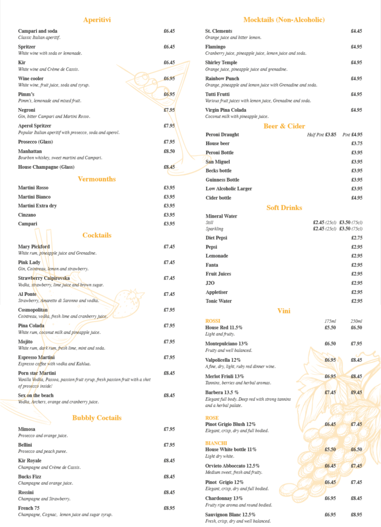 Bar Menu (New - April 2019)