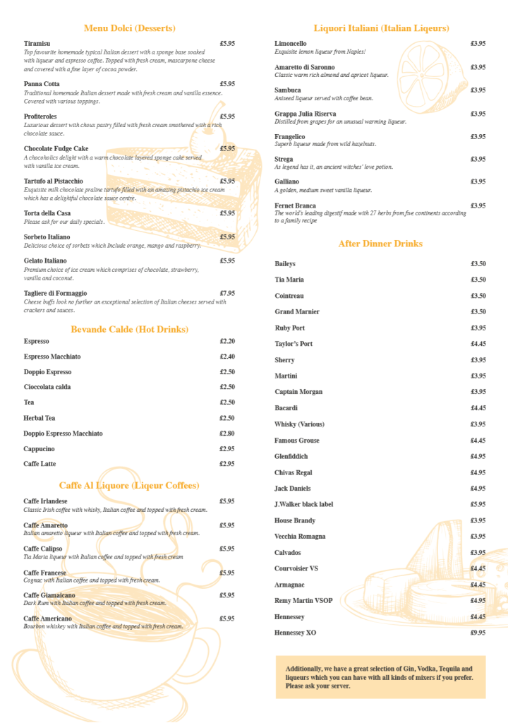 Desserts Menu (New - April 2019)