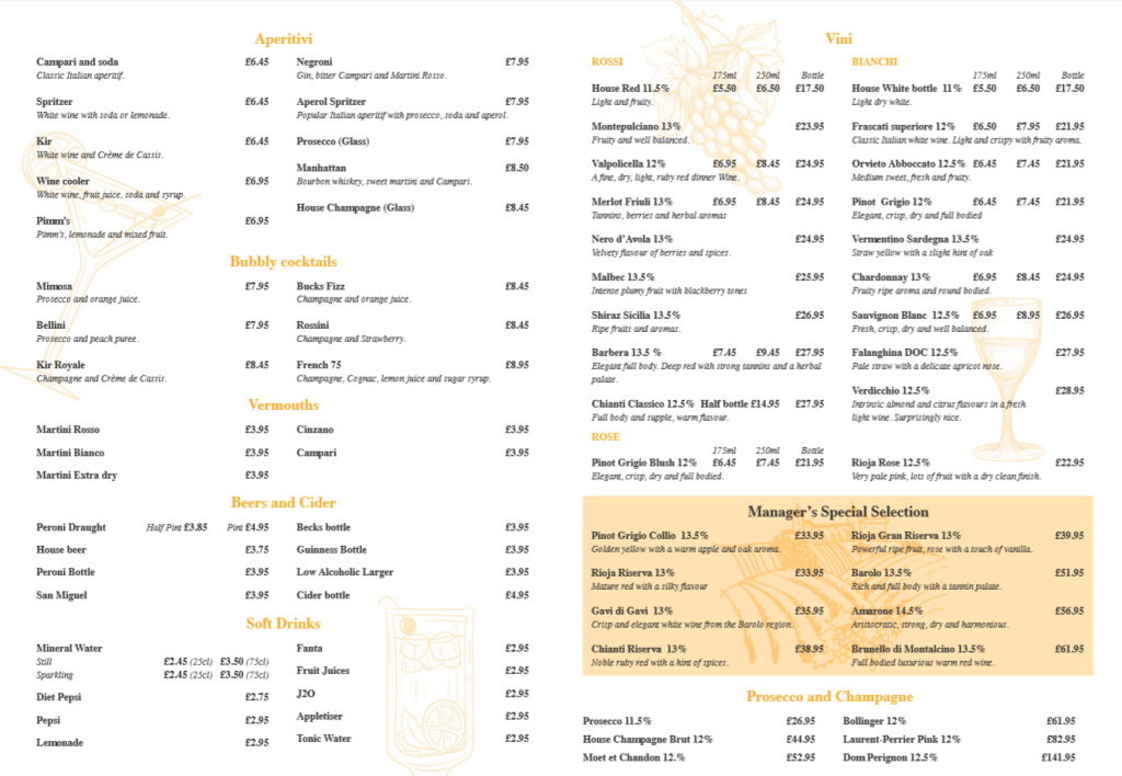 Drinks Menu (New - April 2019)