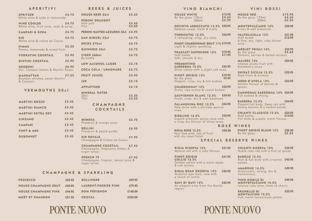 Ponte Nuovo Wine List