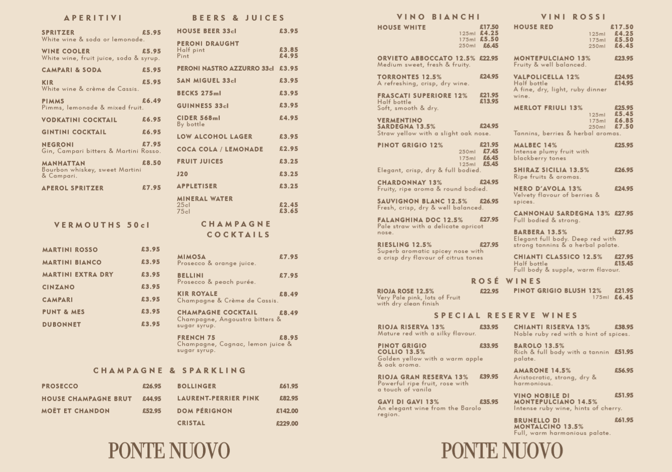 Ponte Nuovo Food Menu